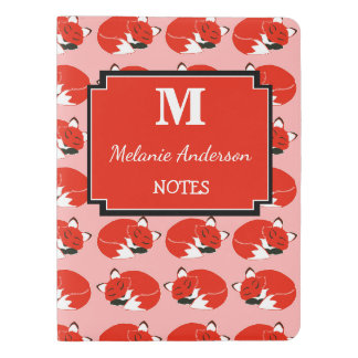 Personalized Foxes Print Monogram Notebook