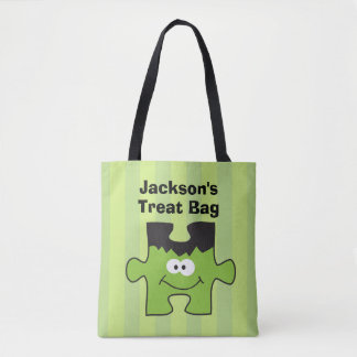 Personalized Franken Puzzle Halloween Treat Tote Bag