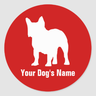 Personalized French Bulldog フレンチ・ブルドッグ Round Sticker
