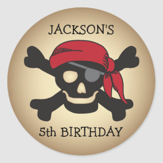 Personalized Friendly Pirate Skull Sticker