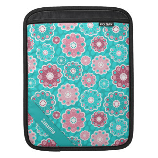 Personalized fun and stylish pink and aqua floral iPad sleeve