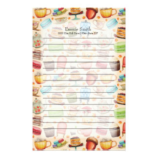Personalized Fun Colorful Teapots and Cupcakes Stationery