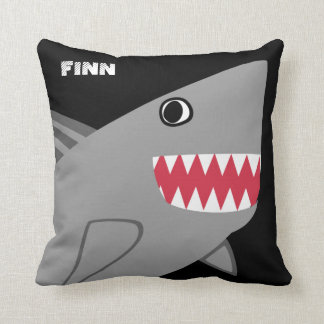 Personalized Fun Gray Shark on Black Cushion