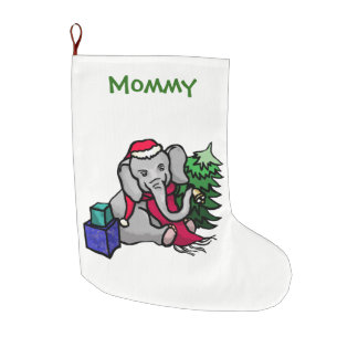 Personalized Fun Xmas Cartoon Elephant in the Snow Large Christmas Stocking