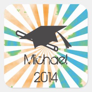 Personalized Funky Graduation 2014 Square Sticker