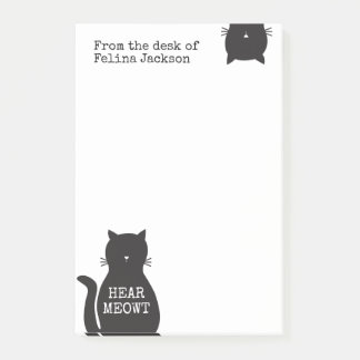 Personalized Funny Black Cat Hear Meowt Post-it Notes