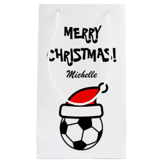 Personalized funny Christmas soccer ball Holiday Small Gift Bag