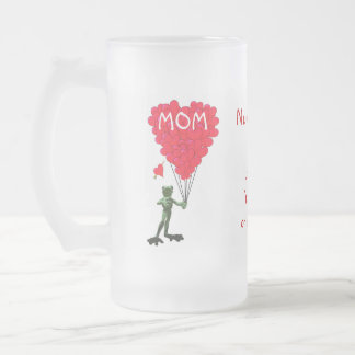 Personalized funny frog mothers day frosted glass beer mug