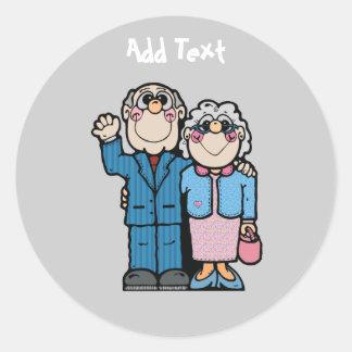 Personalized Funny Grandparent Cartoon Round Sticker