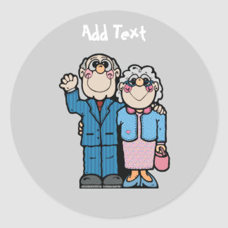 Personalized Funny Grandparent Cartoon Round Stickers
