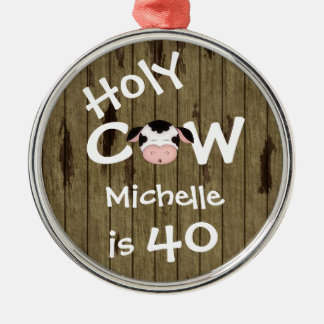 Personalized Funny Holy Cow 40th Humorous Birthday Christmas Ornament