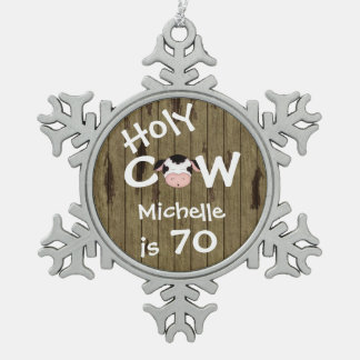 Personalized Funny Holy Cow 70th Birthday Ornament