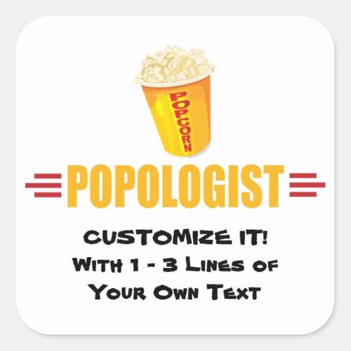 Personalized Funny Popcorn Square Stickers