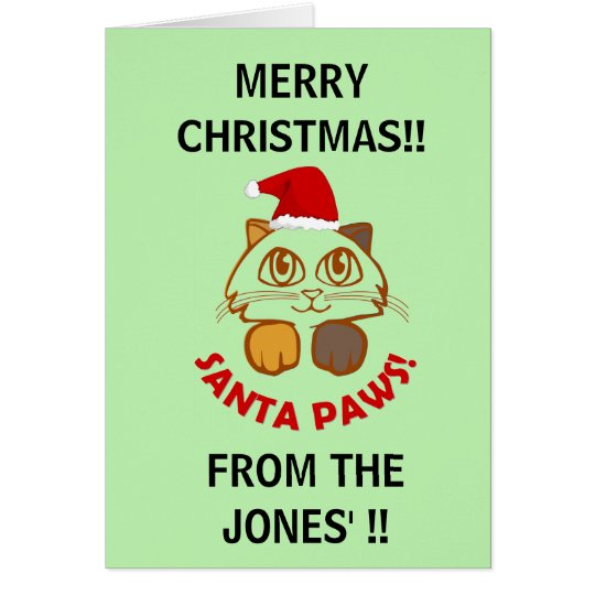 Personalized funny 'Santa Paws' cat christmas Card