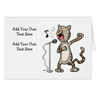 Personalized Funny Singing Cat Note Cards