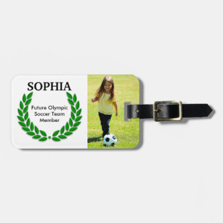 Personalized Future Soccer Olympian Photo Template Luggage Tag