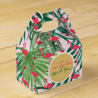 Personalized Gable Boxes Tropical Leaf Flamingos
