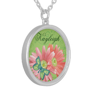 Personalized Gerber Daisy Silver Plated Necklace