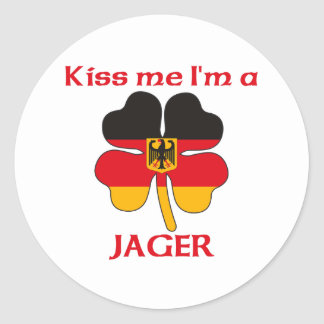 Personalized German Kiss Me I'm Jager Round Sticker