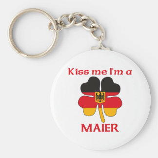 Personalized German Kiss Me I'm Maier Basic Round Button Key Ring