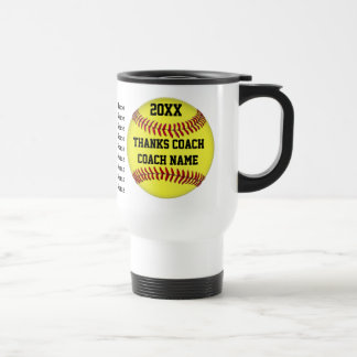 Personalized Gift for Softball Coach Players Names Travel Mug