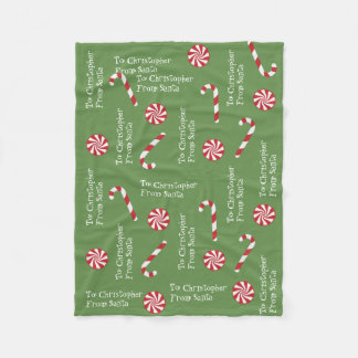 Personalized Gift From Santa Christmas Candy Green Fleece Blanket