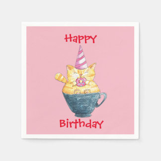 Personalized // Ginger cat// Happy birthday Paper Napkins