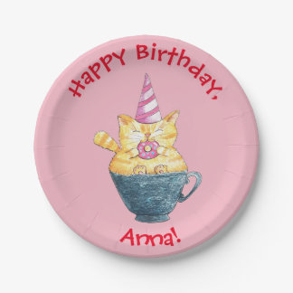 Personalized // Ginger cat// Happy birthday Paper Plate