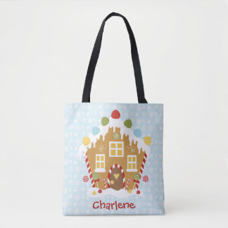 Personalized Gingerbread Christmas Tote Bag