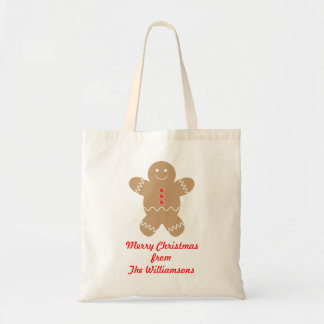 Personalized Gingerbread Man Christmas Gift Bag