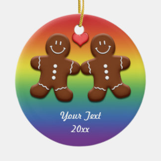 Personalized Gingerbread Men Rainbow Ornament