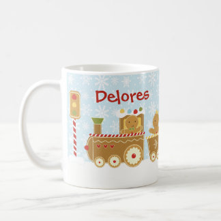 Personalized Gingerbread Train Christmas Mug