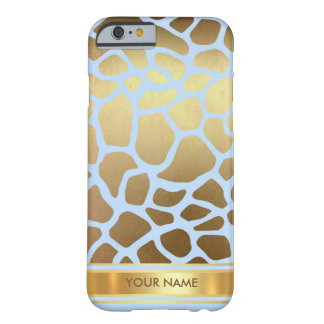 Personalized Giraffe Skin Blue Gold Glam Barely There iPhone 6 Case