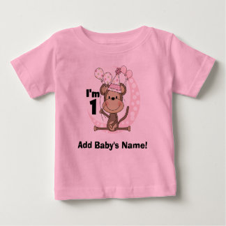 Personalized Girl Monkey in Party Hat 1st Birthday Tee Shirt