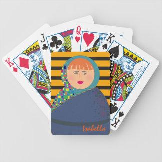 Personalized Girl Portrait Colorful Bright Stripes Poker Deck