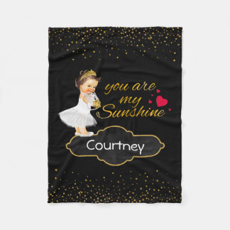 Personalized Girl Princess | Gold Sunshine Nursery Fleece Blanket