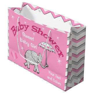 Personalized Girls Baby Shower Elephant Gift Bag