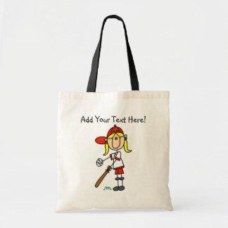 Personalized Girls Baseball Tote Bag