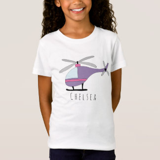 Personalized Girls Cool Helicopter Aircraft & Name T-Shirt