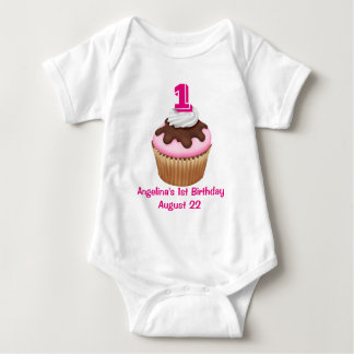 Personalized Girl's Cupcake Birthday Baby Bodysuit