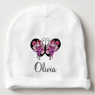 Personalized Girl's Name Pink Butterfly Baby's Cap Baby Beanie