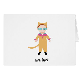 Personalized Girls Note Card-Catgirl/Cat Costume Card