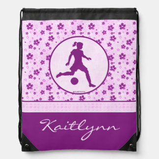 Personalized Girl's Soccer Purple Heart Floral Drawstring Bag