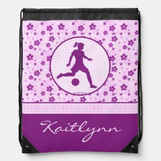 Personalized Girl's Soccer Purple Heart Floral Rucksacks