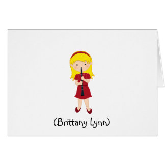 Personalized Girls Stationery-Kid Playing Clarinet Note Card