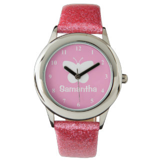 Personalized girl's watch | butterfly silhouette