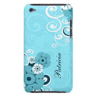 Personalized Girly Blue Swirls And Floral Pattern Barely There iPod Cover