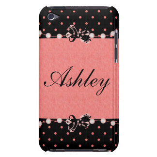 Personalized Girly  Bows and Polka dots Barely There iPod Cases