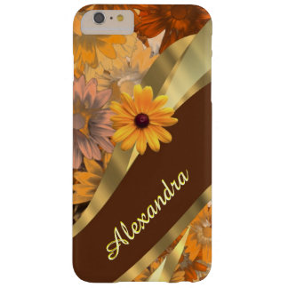 Personalized girly brown flower pattern barely there iPhone 6 plus case