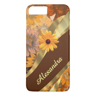 Personalized girly brown flower pattern iPhone 7 plus case